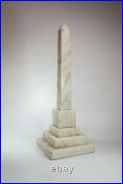 Vintage Italian Obelisk Art Deco Westminster White Marble Ornament Home Decor