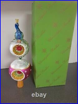 Vintage Rare Christopher Radko Peacock Tree Topper with crystals