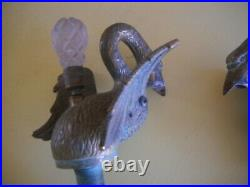 Vintage Sherle Wagner/Phylrich Swan Faucet's Crystal Handles and Ornamental Base