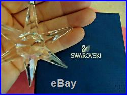 Vtg 1993 Swarovski Crystal Star Snowflake Xmas Ornament Dark Blue Swarovski Box