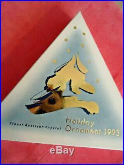 Vtg 1993 Swarovski Crystal Star Snowflake Xmas Ornament Original Box, Label On Bo