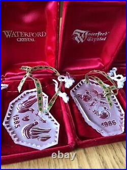 WATERFORD CRYSTAL 12 DAYS OF CHRISTMAS ORNAMENTS 10/12 ORNAMENTS IN BOX With POUCH