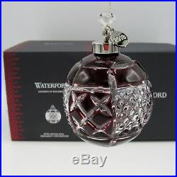 WATERFORD Crystal 2018 RUBY CASED BALL CHRISTMAS Ornament NEW in Box