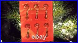 WATERFORD Crystal Boxed Set of 6 Ornament Enhancers Green, Red, Clear EUC