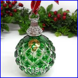 WATERFORD Crystal Emerald Green Case Ball 2014 Annual Ornament CHRISTMAS 164579