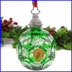 WATERFORD Crystal Emerald Green Cased Ball Annual Ornament CHRISTMAS 156419 HTF