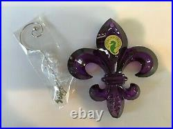 Waterford 2013 PURPLE FLEUR DE LYS CHRISTMAS ORNAMENT WITH ENHANCER NEW IN BOX