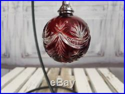 Waterford Balled Crystal Cased Ball Decoration Xmas Holiday Christmas Red Bulb