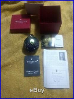 Waterford Cased Cobalt Crystal Ball Blue Cut To Clear Christmas Ornament New