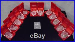 Waterford Crystal 12 Days Of Christmas Annual Ornaments Mint In Boxes