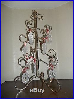 Waterford Crystal 12 Days Of Christmas Ornaments Set, With Gold Plated Tree