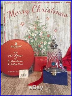 Waterford Crystal 12 Days of Christmas 7 Swans-A-Swimming Bell Ornament MINT