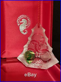 Waterford Crystal 12 Days of Christmas Ornament 5 Golden Rings 1999 MIB Mint