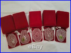 Waterford Crystal 12 Days of Christmas Ornaments 1990-1994 Mint