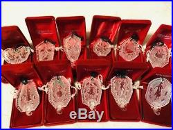 Waterford Crystal 12 Days of Christmas Ornaments Lot of 11, with Boxes 1985-95
