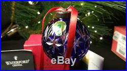 Waterford Crystal 2000 Cobalt Blue Annual Cased Ball Christmas Ornament Boxed