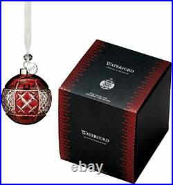 Waterford Crystal 2018 RED RUBY CRYSTAL BALL Christmas Ornament NIB