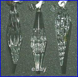 Waterford Crystal 2018 Set Of 3 Icicle Christmas Ornaments Nib