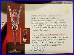 Waterford Crystal 7 Swans-a-Swimming Flute 12 Twelve Days of Christmas NEW MINT
