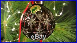 Waterford Crystal Amethyst Annual Cased Ball Ornament Christmas 2001 MINT in BOX