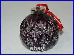 Waterford Crystal Cased Amethyst Purple Ball Ornament Christmas In Box