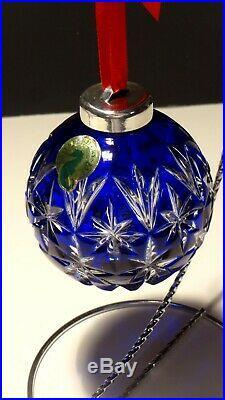 Waterford Crystal Christmas Ornament Ball Cobalt Blue