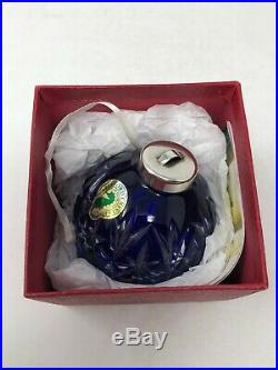 Waterford Crystal Cobalt Blue Cut To Clear Cased Ball Christmas Ornament