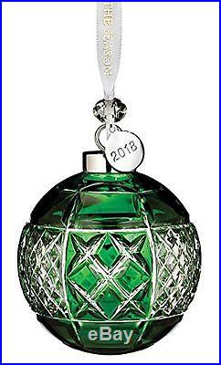 Waterford Crystal Emerald Christmas Ball Ornament with 2018 Silver Hang Tag