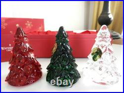 Waterford Crystal MINI CHRISTMAS TREES Clear, Red & Green SET / 3 NEW IN BOX