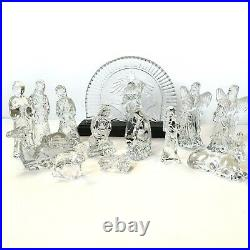 Waterford Crystal Nativity Set Manger Scene 15 Pieces Signed Manger XMAS Rare