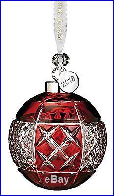 Waterford Crystal Ruby Christmas Ball Ornament with 2018 Silver Hang Tag