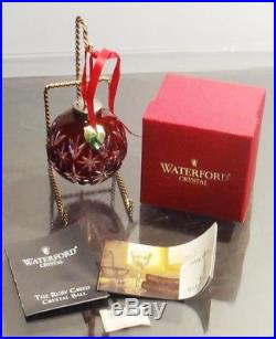 Waterford Crystal Ruby Red Ball Christmas Tree Ornament In Box