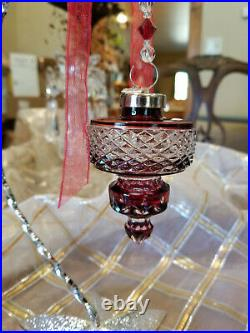 Waterford Crystal Ruby Spire Ornament 2002 Annual Cased Ball Stunning! 3 1/2