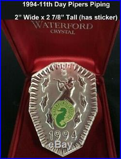 Waterford Set of 12 Days of Christmas Waterford Ornaments (1982-1995) 1982 Rare