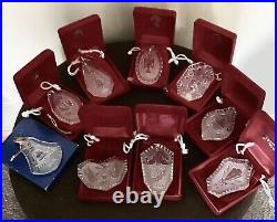 Waterford crystal 12 days of christmas ornaments Lot Of 9