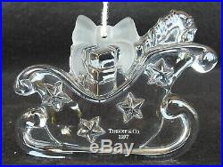 YOUR CHOICE of 1 Tiffany & Co. Crystal Christmas Ornament Sleigh, Bell, Tree